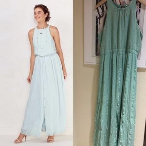 LC Lauren Conrad teal blue maxi button down dress